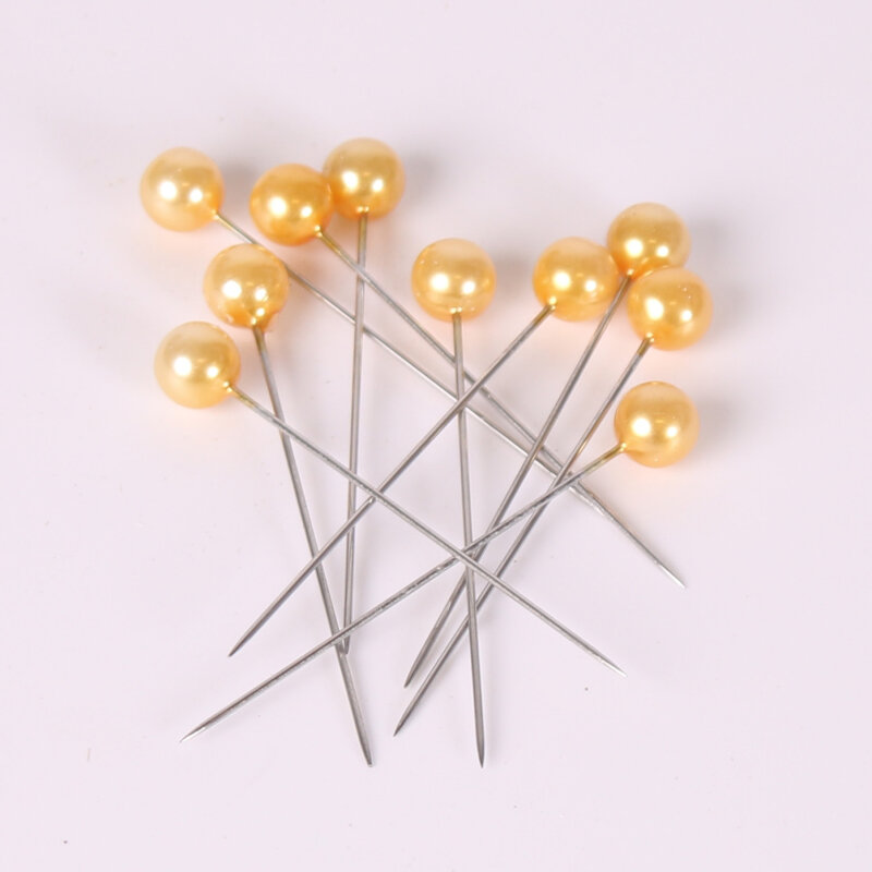 Perler på nål - Guld - 10 stk.