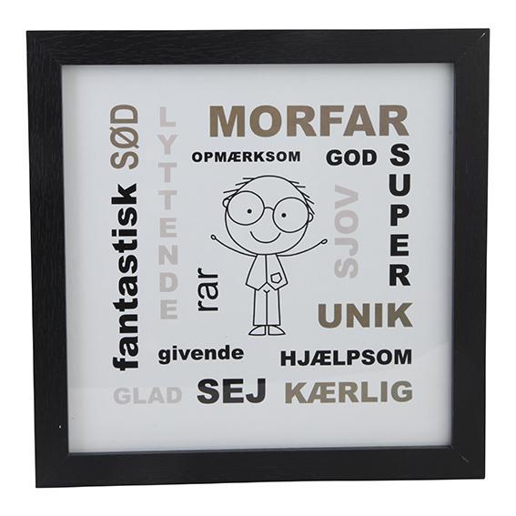 Billede med sort ramme - Morfar - 17,5 x 17,5 cm