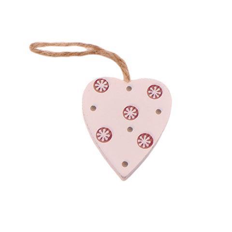 Mini Hjerte i træ – Hvid – 4 cm
