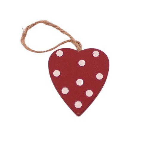 Mini Hjerte i træ – Rød prikker- 4 cm