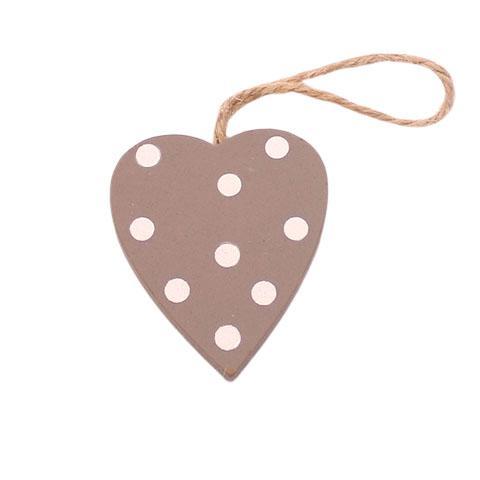 Mini Hjerte i træ – Grå prikker- 4 cm