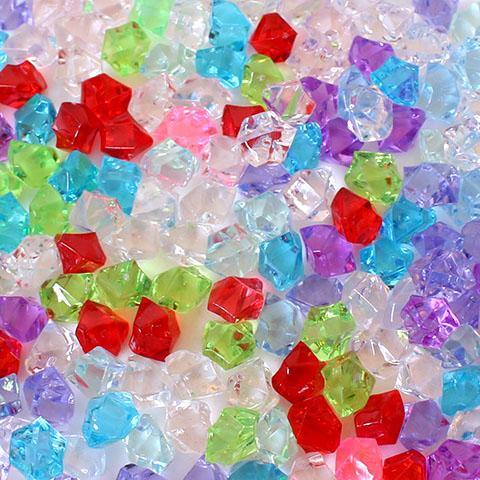 Krystal dekorations diamanter plast - 100 gram - Mix