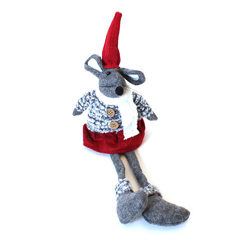 Julemus Pige Boucle 40 cm – Rød, hvid og grå