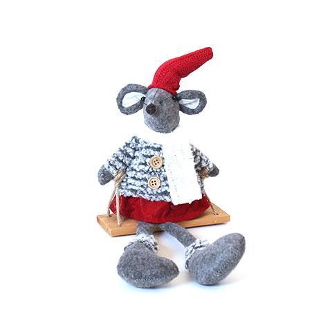 Julemus Pige Boucle 40 cm på gynge – Rød, hvid og grå