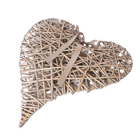 Flettet hjerte med bånd – Natur -L 59 x B 48 cm