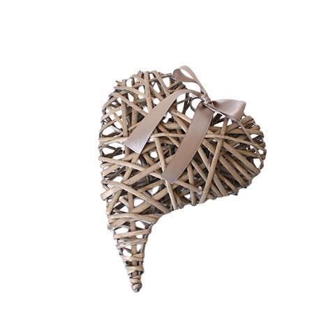 Flettet hjerte med bånd – Natur -L 30 x B 23 cm