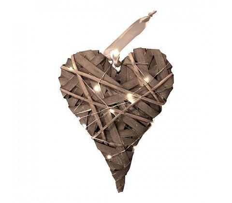 Flettet hjerte med LED – Natur -L 34 x B 25 cm