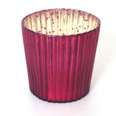 Fyrfadsstage glas Rainbow rillet - H 7,5 cm - Pink