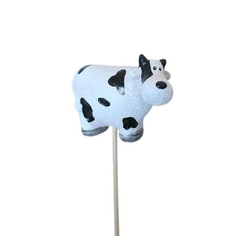 Ko på pind -Hvid og sort - L 6 cm x B 2,5 cm