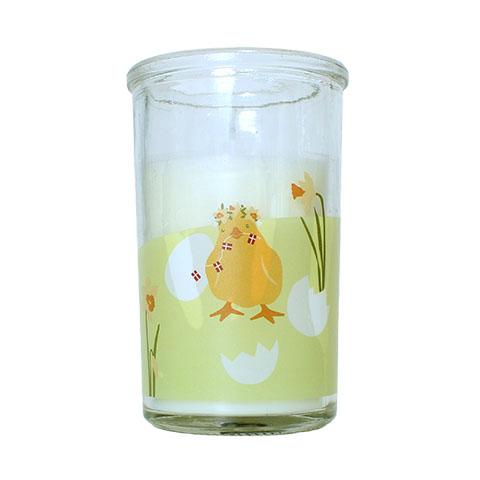 Påskelys i glas - Påskekylling - H 10 cm