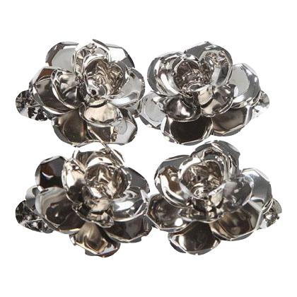 lysholder til juletræslys – 4 stk. blomster- Sølv