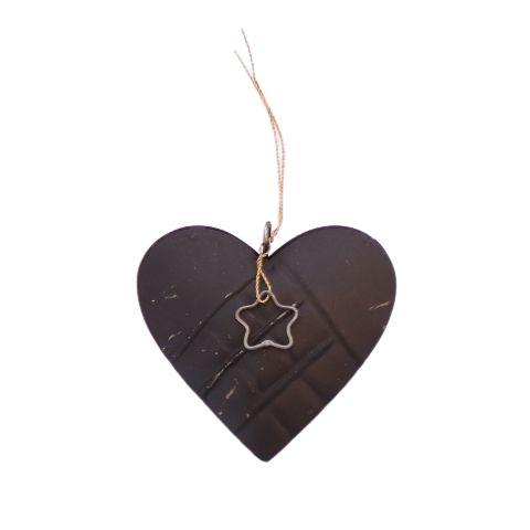 Julehjerte sort metal – H 8 cm