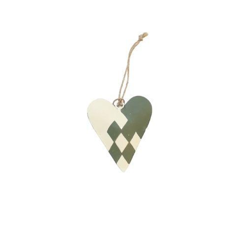 Julehjerte ophæng metal – H 7 cm – Grøn
