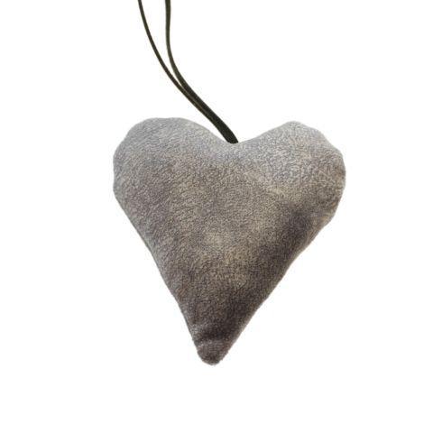 Hjerte i velour – H 10 cm – Grå