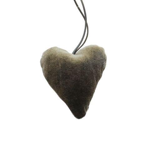 Hjerte i velour – H 10 cm – Grøn