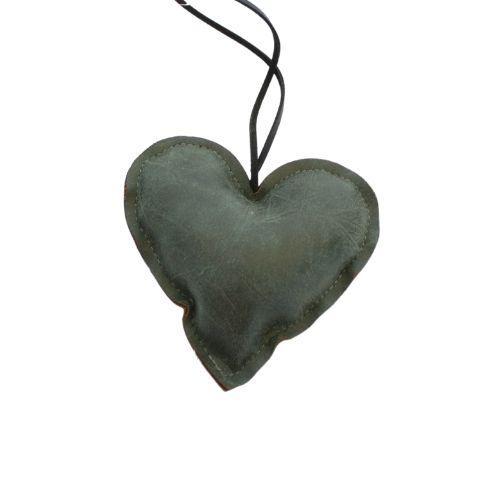 Hjerte i læder – H 10 cm – Grøn