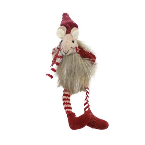 Julemus Mille – Fløjl og strik – H 16 cm