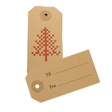 Til og fra kort Jul – Manilla m juletræ -10 stk