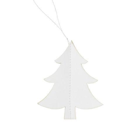 Billede af 2. sortering - Juletræ i papir - Hvid - H 8,5 cm