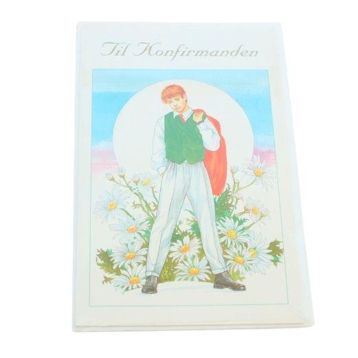 Kort til konfirmation - 4 stk med kuvert - Dreng hvide blomster