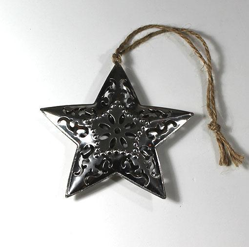 Sølv juleophæng, Stjerne, 10 cm