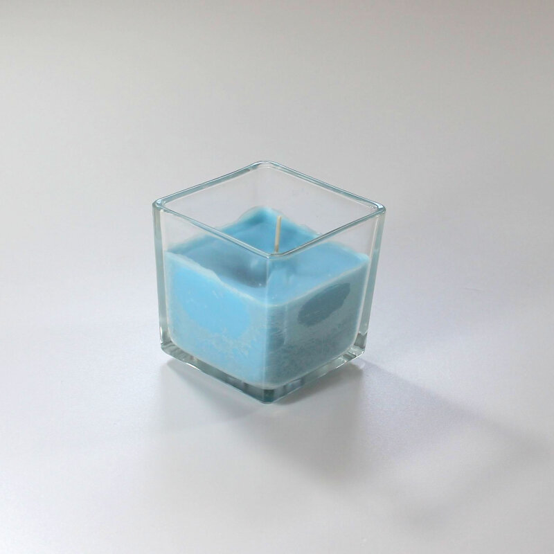 Lys i glas - Turkis - 8x8x8 cm