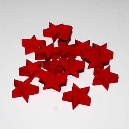 Træstjerner, røde - Ø 2 cm,  15 stk