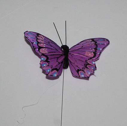 Sommerfugl fjer - Lilla - 10 cm