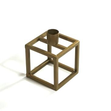 Guld square lysestage 8 x 8 x 11 cm