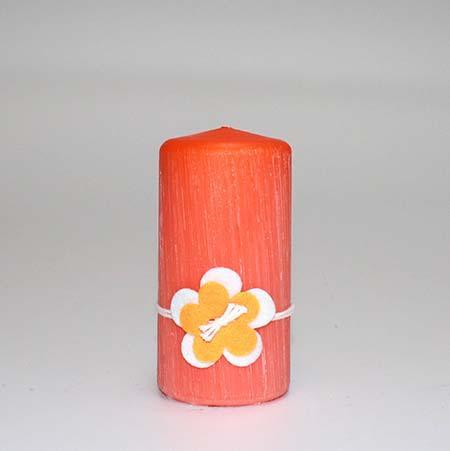 Børstet bloklys Orange - 12 x 6 cm - m/ blomst