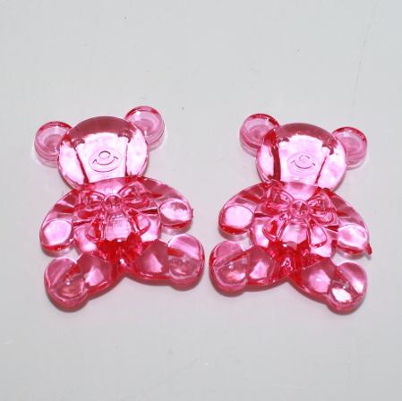 Bamse i akryl, pink - 6 cm - 2 stk.