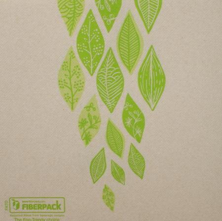 Eco Tekstilserviet Sand og Grøn - 40 stk - 40x40 cm - VEGGIE